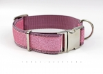Dog Collar with glitter, webbing in pink, width 30mm