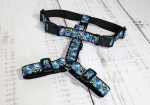 Dog harness with flowers in blue and pattern in black and white, webbing in black, width 30mm