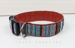 Dog Collar, stripes, pattern, colorful, brown blue, dog, collar, faux leather, puppy, dogs, pet, trendy, stylish