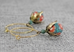 Earrings, hoops, gold, hibiscus, turquoise, orange