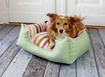 SNOOZE'N'STRIPES _ Dog bed, cat bed, stripes, dots, lime green, pink, pink, white