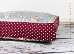 Cushion, dog, cat, dots, flowers, shabby chic, red, stripes
