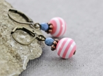 Earrings, striped, stripes, pink, white, smoky blue, pearls