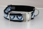 Dog collar with hearts, webbing in black, width 30mm