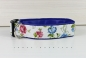 Dog collar with flowers in blue and red, with artificial leather in blue, collar for dogs