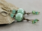 Preview: Earrings, mint green, turquoise, vintage, mint, bronze