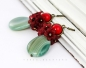 Earrings, flowers, red, turquoise, vintage, green