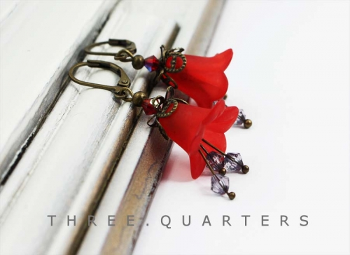 Earrings, flowers, red, gray, dark gray, boho