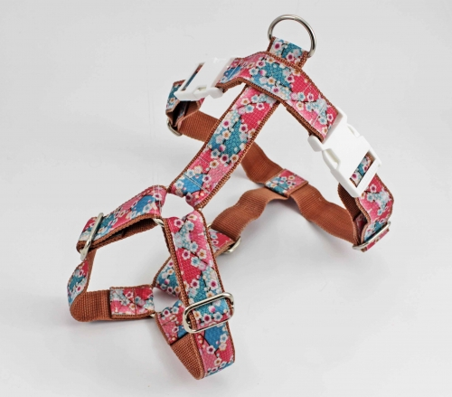 Dog harness with cherry blossoms, strap in light brown, width 30mm
