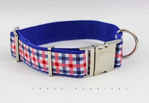 Dog Collar checkered in blue and pink, webbing in blue, silver, 30mm