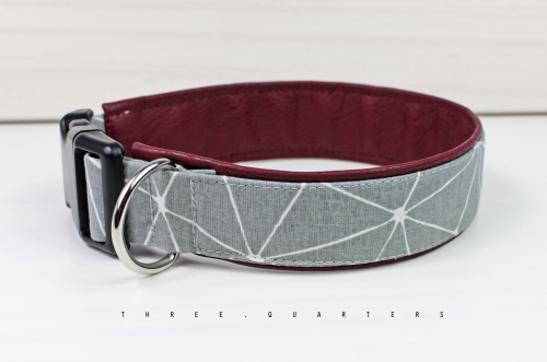 Dog Collar, stripes, pattern, geometric, grid, light gray, dog, collar, imitation leather, dark red, puppy, dogs, pet, trendy, stylish