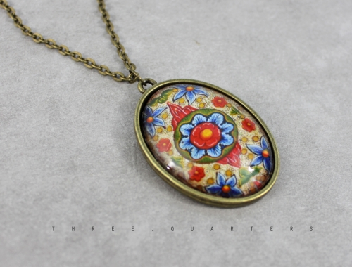Necklace, floral, red, green, blue, antique bronze, glass, flower, chain, cabochon, beige, vintage, ethnic, boho, noble, cute, gift