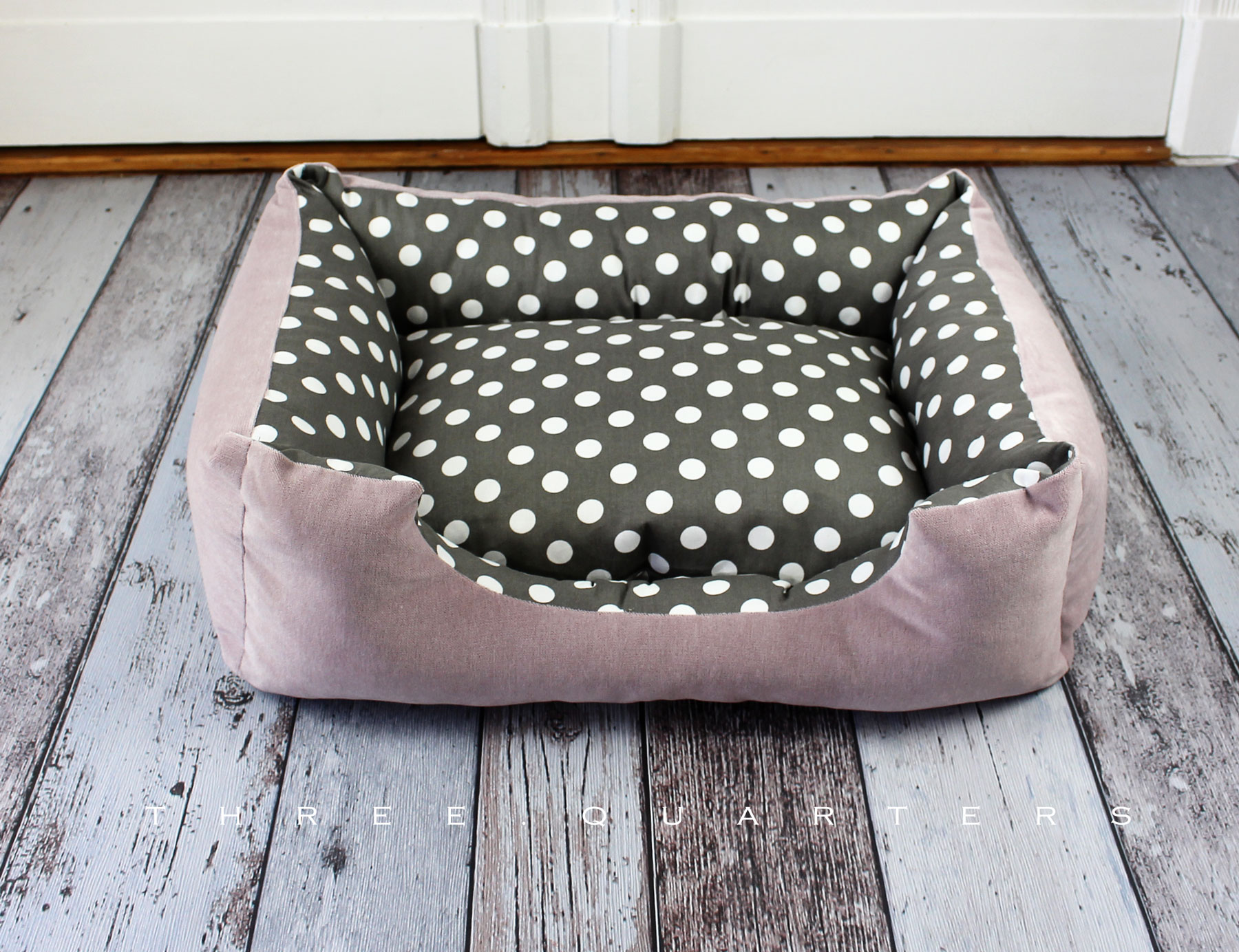 Dog Bed, Gray, Pink, Dots, Shabby Chic