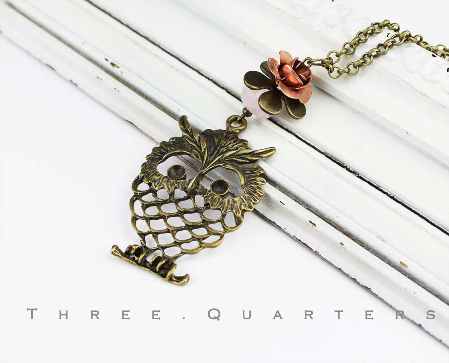 Three Quarters Halskette, Eule, bronze, Kette, lang, rosa