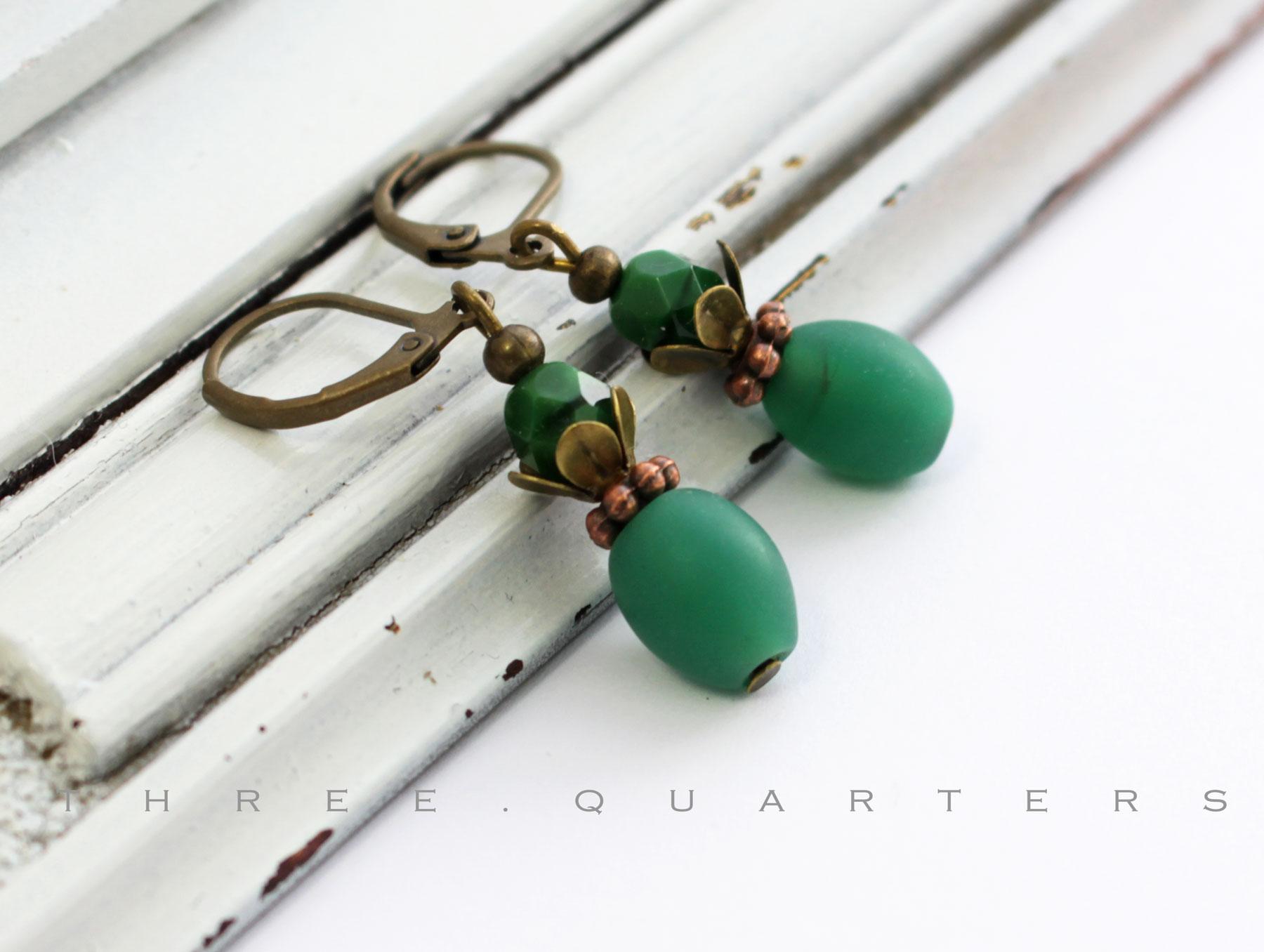 Brautschmuck ohrringe schlicht  Three-Quarters - Ohrringe, grün, dunkelgrün, vintage, niedlich ...