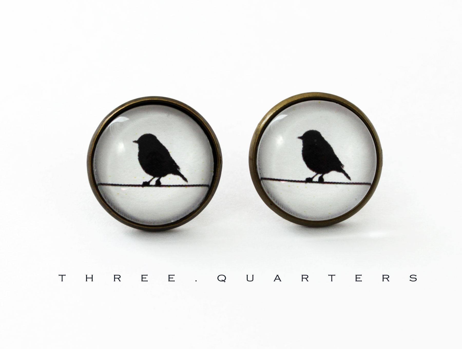 three quarters ohrstecker ohrringe vogel spatzen meisen studs antik bronze hochzeit. Black Bedroom Furniture Sets. Home Design Ideas