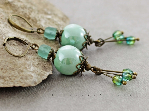 Earrings, mint green, turquoise, vintage, mint, bronze