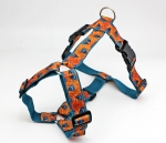 Dog harness with pattern in orange and turquoise, modern and abstract, webbing in turquoise, chest harness for dogs