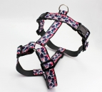 Dog harness with colorful leaves print, webbing in dark gray, chest harness for dogs