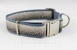 Dog collar with dots in gold colors, gray and black, webbing in gray, silver, 30mm