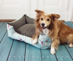 Dog bed, birds, cherry, mint, brown, dots - Kopie