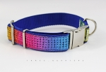 Dog collar with sequins in red, blue, yellow, green, blue, webbing in blue, width 30mm