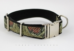 Dog Collar with snake snake pattern, red and green, webbing in black, silver, 30mm