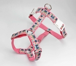 Dog harness with Asia flowers, floral, webbing in pink, harness for dogs