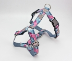Dog harness with abstract flowers in pink, blue and brown, webbing in gray, chest harness for dogs