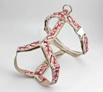 Dog harness with cherry blossoms in pink, webbing in beige, chest harness for dogs