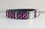 Dog collar with dog bones, purple, white and black, webbing in gray, collar