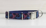 Dog collar with pattern in pink and blue, abstract, webbing in dark blue, collar