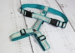 Dog harness with scales pattern in pink and turquoise, webbing in turquoise, width 30mm