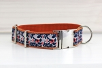 Dog collar with abstract plants and flowers, webbing in brown