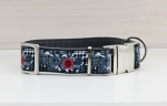 Dog collar with flower pattern in black and white with red, floral, webbing in dark gray