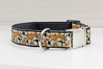 Dog collar with flowers, cream and yellow, floral and modern, webbing in dark gray