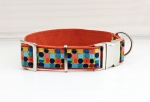 Dog collar with colorful dots, dotted, webbing in light brown
