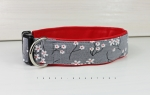 Dog collar with flowers on gray, with artificial leather in red, collar for dogs
