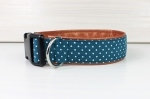 Dog collar with white dots, with artificial leather in bronze colors, collar for dogs