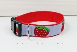 Dog collar made of light blue cotton fabric with strawberries, lined with imitation leather