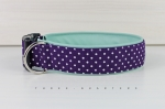 Dog collar in purple with white dots, with imitation leather in mint, collar for dogs
