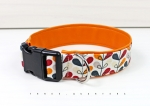 Dog collar with abstract plants in blue, red and yellow, lined with imitation leather