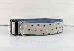 Dog collar with colorful dots, with artificial leather in light blue, collar for dogs