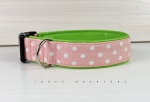 Dog collar with dots in pink with white, with artificial leather in green