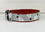 Dog collar with snowman, with artificial leather in brown