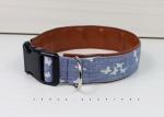 Dog collar made of blue fabric with butterflies, lined with imitation leather