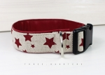 Dog collar in beige with stars, with artificial leather in dark red, collar for dogs