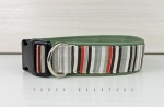 Dog collar in stripes in brown, gray and orange, with leatherette in olive green, collar for dogs
