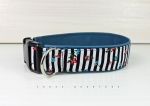 Dog collar striped in black and white, with imitation leather in petrol blue, collar for dogs