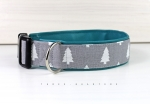 Dog collar with fir tree, with artificial leather in turquoise